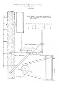Attaching pole balcony on pole at turn of last century.
