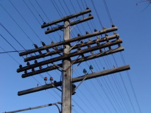 Typical cable conversion from aerial wire lead accomplished in railway style. UPRR, 2014.