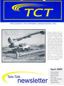 "Tele-Talk Newsletter of Tri-County Telephone Association noting ""End of an Era."" Courtesy Tri-County Telephone Association."