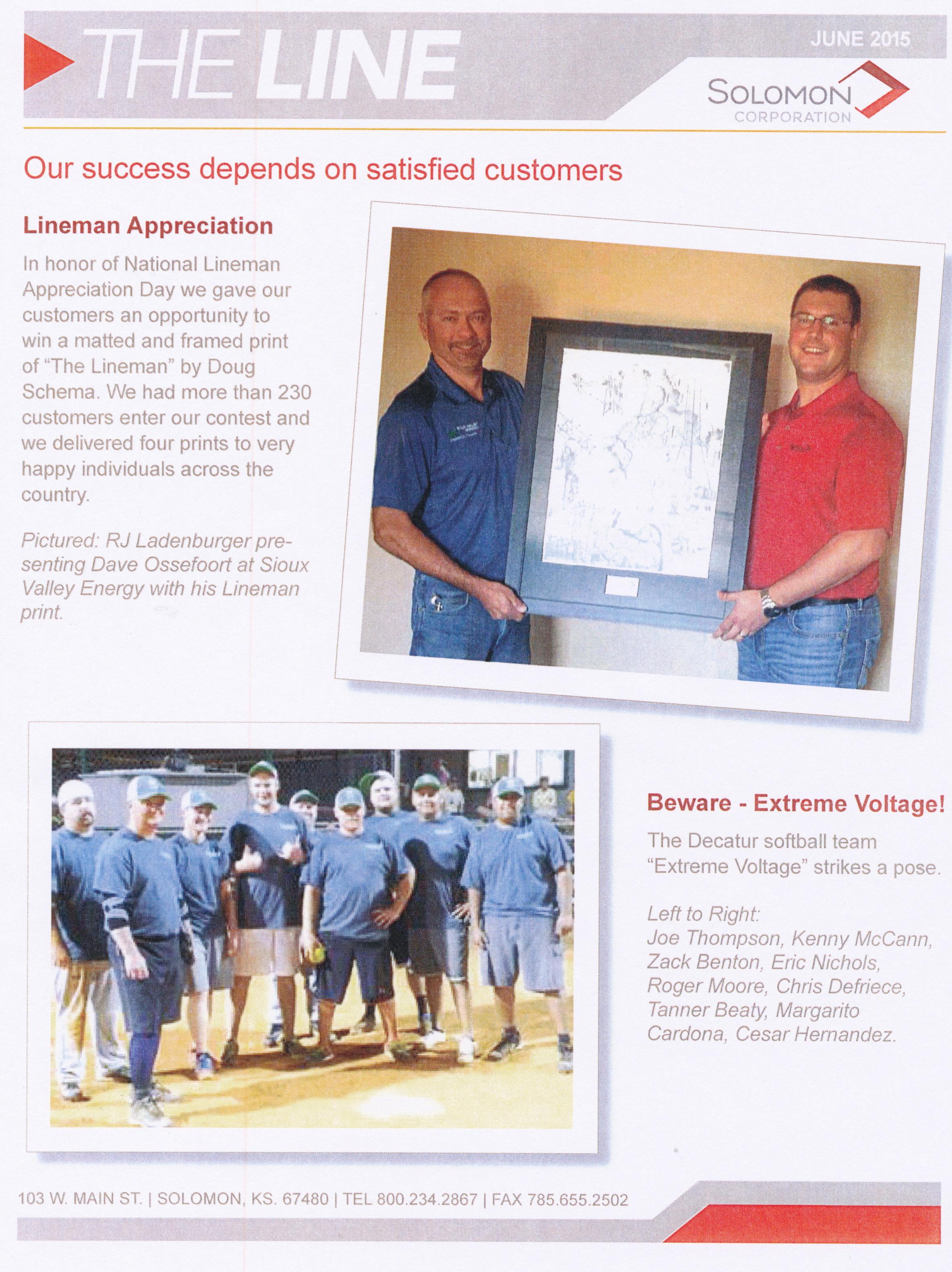 Solomon Contest with The Lineman print 2015