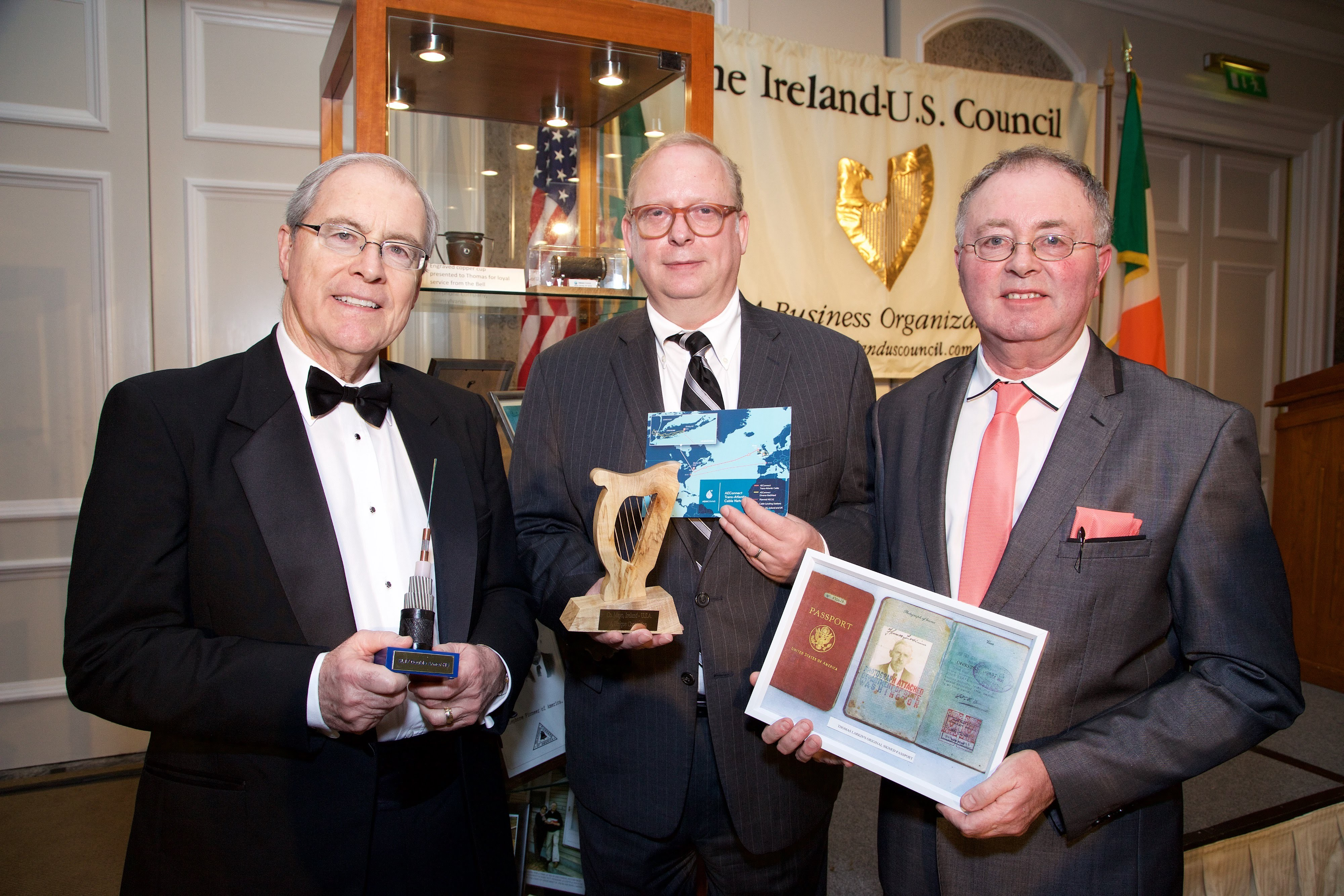 17/12/2015 17 December 2015 Pictured at The Ireland - U.S. Council Holiday Season Member - Guest Reception at the InterContinental Hotel, Dublin were (L-R): U.S. Ambassador, Kevin F. O'Malley; Greg Varisco, AquaComms and Michael Larkin.